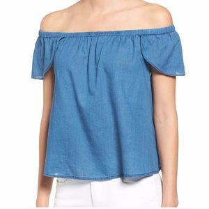 MADEWELL Indigo Off the Shoulder Top Chambray Top